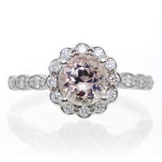 49cd7cd8d 18K White Gold 7mm Round Morganite Vintage Design Scalloped Diamond Halo  Style Engagement Anniversar