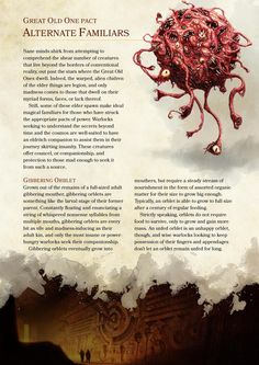 DnD 5e Homebrew — Great Old One Pact Familiars by...