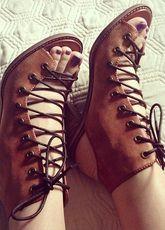 Sandali gladiatore marrone scuro stringate per le donne - Milanoo.com