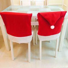 Venta caliente 4 unids Moda de Papá Noel Sombrero Rojo Contraportada Silla Mesa…