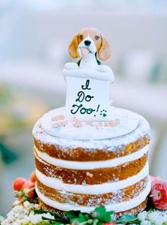 Wedding cake toppers, custom cake toppers, cake topper with dog, we Custom Wedding Cake Toppers, Unique Wedding Cakes, Wedding Topper, Unique Weddings, Wedding Favors, Real Weddings, Wedding Ceremony, Wedding Day, Gold Weddings