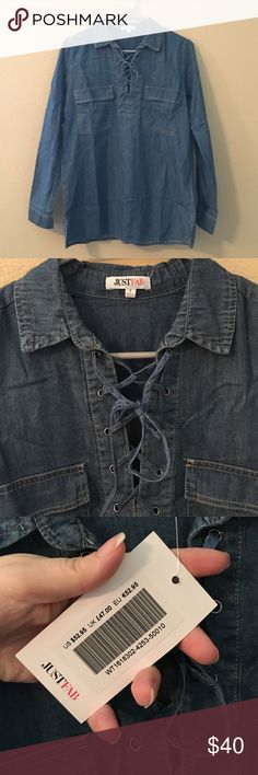 Denim Long Sleeve Tie Up Top This criss cross tie up shirt is really popular right now. It was just a tad too small for me. From JustFab. Never worn, has tags. My loss, your gain! Make me an offer 🤑                Smoke free home 🚬❌ Ships ASAP 📦 Bundle to save 🤑 Open to all offers 🤔 Welcome to my closet! 😘 JustFab Tops Blouses