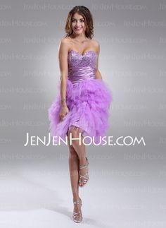 Homecoming Dresses - $200.00 - A-Line/Princess Sweetheart Knee-Length Tulle Charmeuse Homecoming Dresses With Beading (022017111) http://jenjenhouse.com/A-line-Princess-Sweetheart-Knee-length-Tulle-Charmeuse-Homecoming-Dresses-With-Beading-022017111-g17111