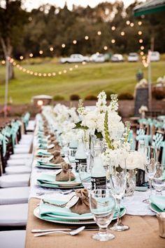 burlap tablecloths, long tables, ice blue accents