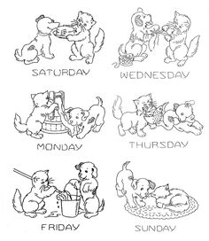 Vintage Hand Embroidery PATTERN 1918 Puppy & Kitten Days of the Week Kitchen…