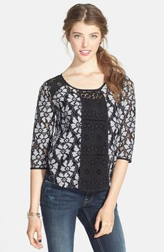 Lush Floral Lace Top (Juniors) | Nordstrom