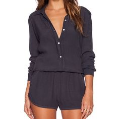 NWT Vintage Grey Monrow Romper Super trendy, fun romper by Monrow, made in Los Angeles and made popular by the Kardashians. This romper is cute with short shorts and long sleeves. Can be ultra sexy the more unbuttoned you go! Monrow Other