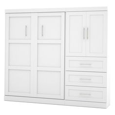 Bestar Pur Murphy Wall Bed with Storage Options White, Size: Queen - 26887-17