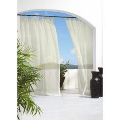 """Outdoor Decor™ Escape Solid Indoor/Outdoor Grommet Top Sheer Curtain Panel - White (54x84"""") : Target"""