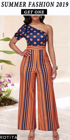This jumpsuit with One Shoulder can make you look much sexier and Polka Dot and Stripe Print make you full of charm,you can wear it to your party or wear it at your daily time is very suitabe,get one you like. African Print Fashion, African Fashion Dresses, Fashion Outfits, African Wear, African Dress, Couples African Outfits, African Print Jumpsuit, Ankara Gown Styles, Printed Jumpsuit