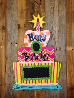 LABOR DAY Sale: Whimsical Chalk Board Birthday Cake Door Hanger Door Decoration // Leopard // Zebra // Giraffe // Polka Dots // Swirls on Etsy, $35.00