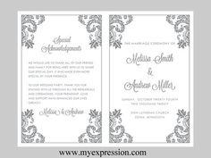 Wedding Program Template  Gray Damask Ornament by MyExpressionShop, $8.95