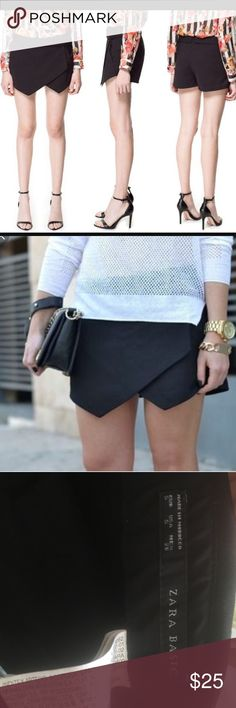Zara asymmetrical skort♠️ Zara size small. In great condition. Skort with pockets. Black. Zara Shorts Skorts