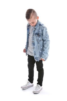 The Beau Hudson soft blue stone wash distressed denim jacket for kids is in our signature premium denim and relaxed fit. The oversized fit is perfect for active little people in the most comfortable denim you'll find. Boys Denim Jacket, Denim Shirt With Jeans, Denim Shirts, Boys Fall Fashion, Little Boy Fashion, Beau Hudson, Denim Outfit, Distressed Denim, Boy Outfits