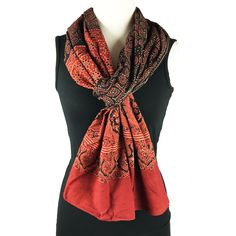Cotton Ajrakh Block Print Scarf, Red ochre and black, handmade in traditional designs by PalluDesign on Etsy