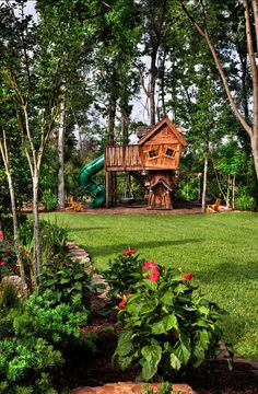 """Kids Backyard Ideas - love the asymmetrical """"house"""" ... And that the whole thing is in their own space out away from the house where they can just be kids"""