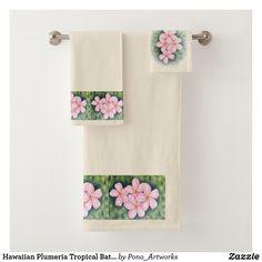Shop Hawaiian Plumeria Tropical Bath Towel Set created by Pono_Artworks. Boho Bathroom, Bathroom Kids, Bathroom Towels, Bathroom Green, Tropical Bath Towels, Bathroom Remodel Cost, Spa Towels, Bath Towel Sets, Pink Gifts