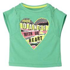 Puma Girls Deached Sleeves Dance Green TShirt Girls Large #PUMA #KnitTop #Casual