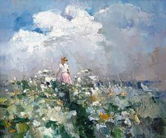 """After a thunderstorm"" By Alexi Zaitsev, from Russia (b. 1959) - oil on canvas; 50 x 60 cm - Alexi Zaitsev was born in 1959 in Ryazan, Russia."