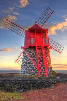 Traditional Windmill, Azores, Portugal - Not a Lighthouse or a Cloud but its at home here. Visit Portugal, Spain And Portugal, Portugal Travel, Tilting At Windmills, Old Windmills, Azores, Places Around The World, Around The Worlds, Beautiful World