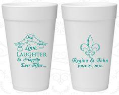 Love Laughter Happily Ever After, Wedding Foam Drinking Cups, Fleur De Lis, Nola Wedding, Cajun, Styrofoam Cups (338)