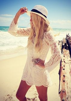 The lacy top is the right fix for the beach.