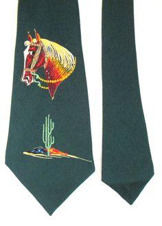 0783c7b5575f Vintage Western Painted Horse Desert Cactus Tie Green 4.5
