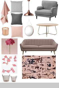 Blush Kew Throw - Temple & Webster   Tivoli Quilted Cushion - Target   Vindkare Pendant Copper Lamp - IKEA   Stocksund Armchair - IKEA   Skandi Felt EMB Edge Cushion - Target   Lev Cushion - Country Road   Tom Dixon 'London' Copper Candle - Nordstrom   Oval Copper Mirror - Kmart   Tiffany Copper Oak Coffee Table - Zanui   Pink Geranium by Hilda Oomen - Artfully Walls   Jaako Blush 3 Seater Sofa - Zanui   Hand Knotted Beige Simav Rug - Temple & Webster   Set of 2 Dull Copper Wire Baskets...