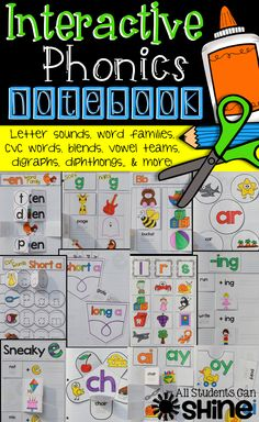 This set has TONS of fun activities for your interactive notebooks! Letter sounds, word families, vowel teams, digraphs, diphthongs, r-controlled, and more!