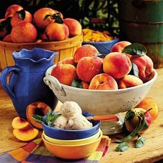 4 cups peeled, diced fresh peaches (about 8 small ripe peaches) $  Click to see savings    1 cup sugar 1 (12-ounce) can evaporated milk 1 (3.75-ounce) package vanilla instant pudding mix 1 (14-ounce) can sweetened condensed milk 4 cups half-and-half