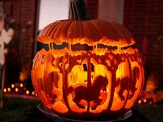 Amazing pumpkin carving merry-go-round carosel horses carousel - 50  Creative Pumpkin Carving Ideas  <3 <3