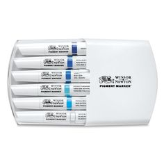 Shop Winsor & Newton Pigment Markers at Blick. They have a chisel tip for broad strokes, a fine tip for lines and detail work, and an ergonomic barrel design. Paint Markers, Copic Markers, Pro Markers, Blending Markers, Black Paper Drawing, Arts And Crafts Supplies, Art Supplies, Marker Art, Blue Tones
