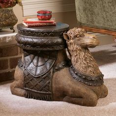 Promotions Choice The Kasbah Camel Sculptural End Table By Design Toscano Recommend Free Standing Sculpture, Glass Top End Tables, Giraffe Family, Happy Elephant, Small Palms, Elephant Design, Unique Furniture, Art Decor, Stools