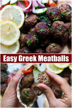 Greek meatballs are the best meatballs ever! You can serve these delicious Greek meatballs as a crowd pleasing appetizer or a complete meal. Greek Meatballs, Best Meatballs, Lamb Meatballs, Meatball Recipes, Pork Recipes, Meatball Appetizers, Protein Recipes, Meal Recipes, Clean Eating Dinner