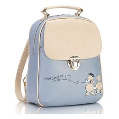 Light Blue Sleek and Creamy Poodle Female Vintage Backpack PU Leather Perfect For Biking! featuring and polyvore,