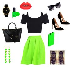 """""""Black and green"""" by yasmin-khsara on Polyvore featuring Larsson & Jennings, Gianvito Rossi, FACE Stockholm and Lime Crime"""