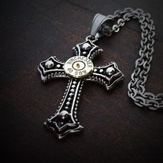 Bullet Jewelry by JECTZ® - Studded Cross Bullet Necklace for Men, $49.95 (http://www.jectz.com/studded-cross-bullet-necklace-for-men/)