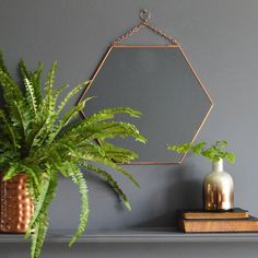 A stylish copper hexagonal mirror.You can never have too many mirrors and this dainty hexagonal copper mirror fits the bill perfectly, it Copper Bedroom, Copper And Grey, Copper Accents, Bedroom Decor, Wall Decor, Bedroom Ideas, Master Bedroom, Mirror Bedroom, Bedroom Inspo