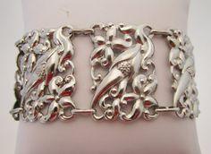 Sterling Silver Flower Bracelet Floral Wide by LadyandLibrarian #sterling #bracelet #ladyandlibrarian
