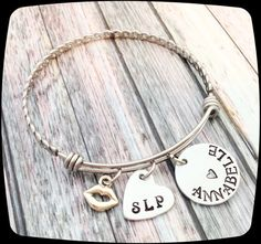 Speech Therapist Gift, SLP Bangle Bracelet, Speech Therapy Staff, Rehab Office Professional Jewelry Bracelet, Language Therapy Gift