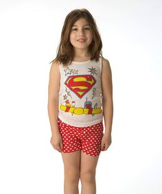 This White & Red Supergirl Tank & Shorts - Girls by Intimo is perfect! #zulilyfinds