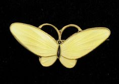 Opro Norway Sterling Silver Guilloche Yellow Enamel Butterfly Moth Pin Brooch | eBay