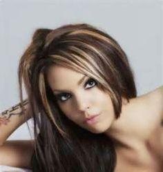 blonde highlights over dark brown hair - Google Search