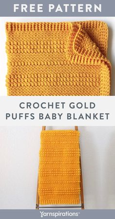 Free Gold Puffs Baby Blanket crochet pattern using Red Heart Super Saver yarn. This free crochet baby blanket pattern is an easy way to practice your moss and puff stitches, plus an opportunity to give a sentimental hand-made gift to a little loved one. Finish off the blanket with a border in front and back post double crochets. #Yarnspirations #FreeCrochetPattern #BabyBlanket #PuffStitch #RedHeartYarn #RedHeartSuperSaver Crochet Blanket Patterns, Baby Blanket Crochet, Crochet Baby, Free Crochet, Afghan Patterns, Knit Or Crochet, Sewing Patterns, Back Post Double Crochet, Red Heart Yarn