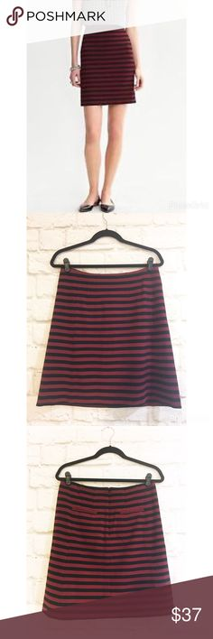 """Banana Republic striped a-line ponte knit skirt Pretty dark claret and black color ponte knit fully lined skirt. Excellent condition waist 16"""" hips 20"""" length 20 1/2"""" Banana Republic Skirts A-Line or Full"""