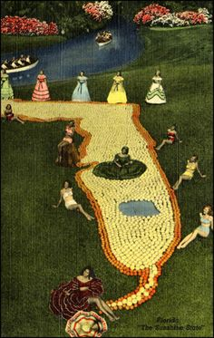 Cypress Gardens State of Florida done in citrus fruits.---circa 1940's