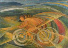 Alessandro Bruschetti (Italian, 1910–1980), Velocità, 1932. Oil on canvas, 55.5 x 78 cm.