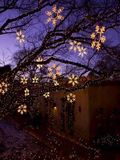 Christmas Decorations Hang Along Canyon Road in Santa Fe, New Mexico