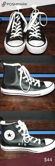 Black leather converse I have worn these shoes about 10-20 times. It has black leather around the shoe. There is a couple of marks on the white toe part. Shoes Sneakers