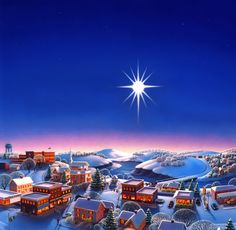 "Photo from album ""Robin Moline"" on Yandex. Christmas Town, Christmas Scenes, Christmas Art, Christmas Paintings, Christmas Pictures, Vintage Christmas, Xmas, Winter Illustration, Christmas Illustration"